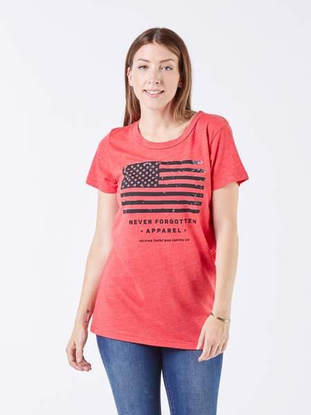 Patriotic American Flag Tee Women Never Forgotten Apparel